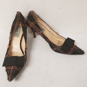 Diane B Black Tweed Bow Pointed Toe Pumps Heels 41